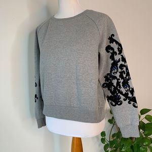 Philosophy Gray Crewneck Sweater Velvet Sleeve